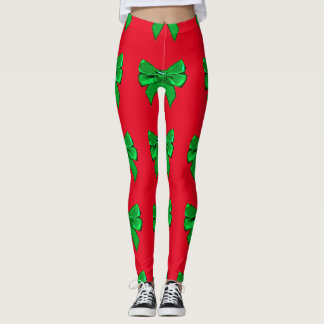 Fun Red and Green Bow Christmas Leggings