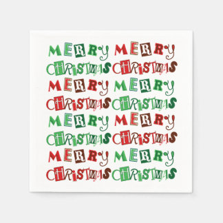 Fun Red and Green Merry Christmas Paper Napkin