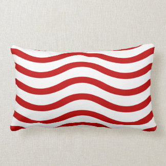 Fun Red and White Wavy Lines Stripes Pattern Gifts Lumbar Cushion