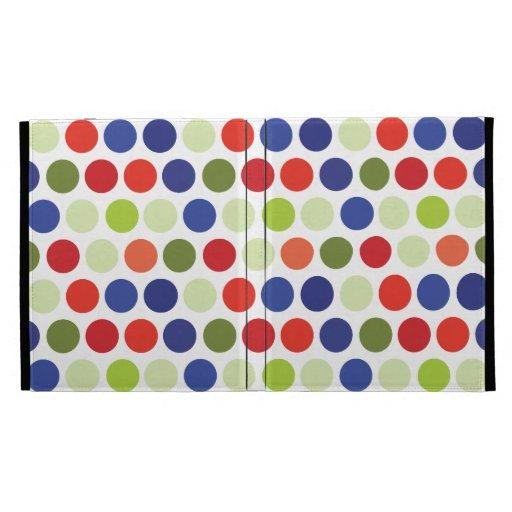 Fun Red Blue Green Polka Dot Pattern iPad Cases