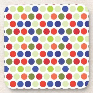 Fun Red Blue Green Polka Dot Pattern Beverage Coasters