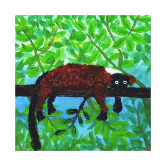 Fun Red Lemur Art Gallery Wrap Canvas