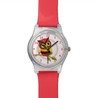 Fun Red Owls Wrist Watch