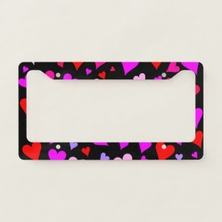 Fun Red, Pink, Purple & Magenta Hearts Pattern Licence Plate Frame