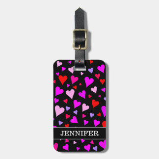 Fun Red, Pink, Purple & Magenta Hearts Pattern Luggage Tag