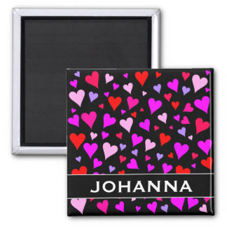 Fun Red, Pink, Purple & Magenta Hearts Pattern Magnet