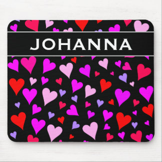 Fun Red, Pink, Purple & Magenta Hearts Pattern Mouse Pad