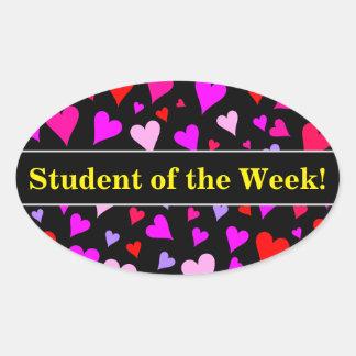 Fun Red, Pink, Purple & Magenta Hearts Pattern Oval Sticker