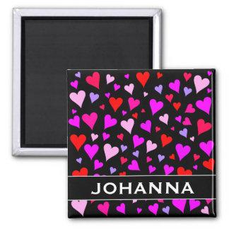 Fun Red, Pink, Purple & Magenta Hearts Pattern Square Magnet