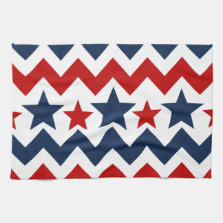 Fun Red White Blue Chevron Stars and Stripes Tea Towel