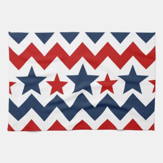 Fun Red White Blue Chevron Stars and Stripes Tea Towels