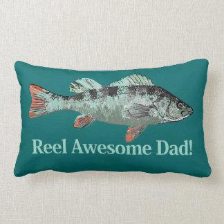 Fun Reel Awesome Dad Quote & Fish Lumbar Cushion
