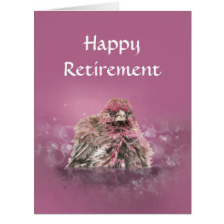 Fun Retirement Bathing Finch Bird Humor Card
