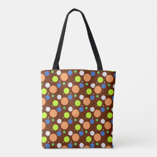 Fun Retro Candy Colored Polka Dots Pattern Tote Bag