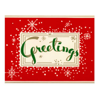 Fun Retro Christmas Greetings Postcard