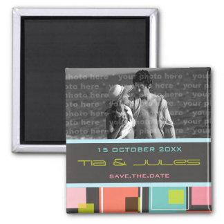 Fun Retro Cubes | 03 * | Save Date Date Magnet