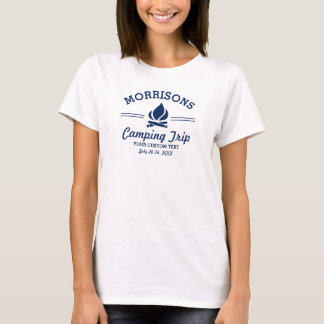 Fun Retro Custom Camping Trip Campfire Navy Blue T-Shirt