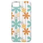 Fun Retro Floral Pattern Orange Blue Wall Flowers Case For The iPhone 5