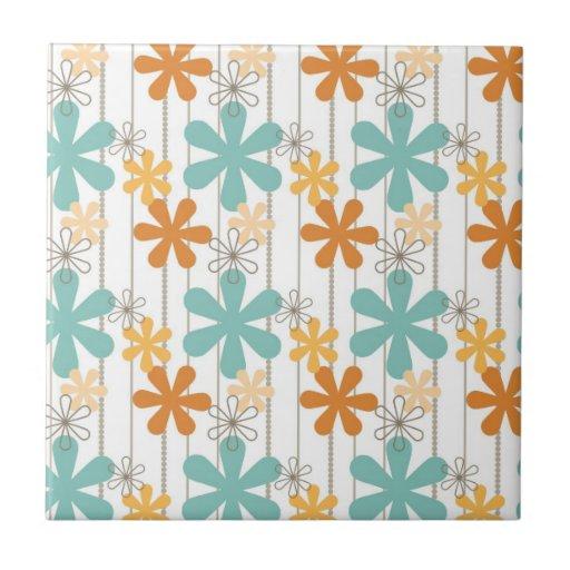 Fun Retro Floral Pattern Orange Blue Wall Flowers Ceramic Tile