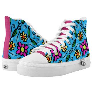 Fun Retro Flowers Printed Shoes
