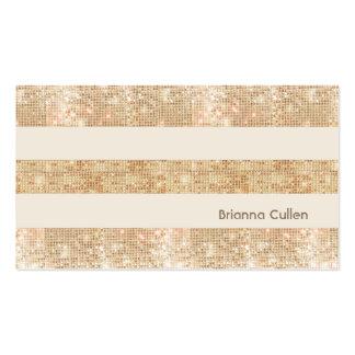 Fun Retro Gold FAUX Sequin Stripes Modern Business Card Templates