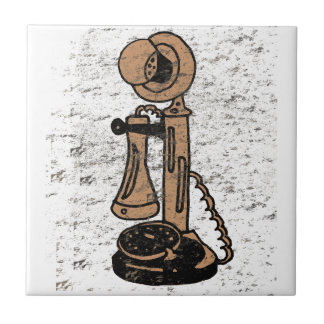 Fun Retro Grunge Style Upright Telephone Tile