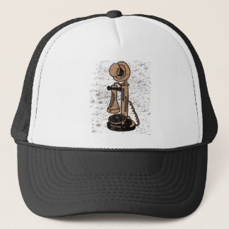 Fun Retro Grunge Style Upright Telephone Trucker Hat
