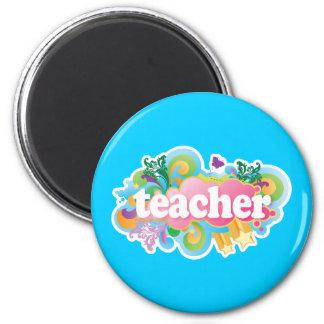 Fun Retro Teacher 6 Cm Round Magnet