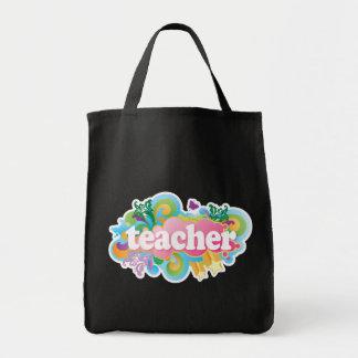 Fun Retro Teacher Grocery Tote Bag