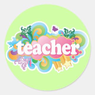 Fun Retro Teacher Round Sticker