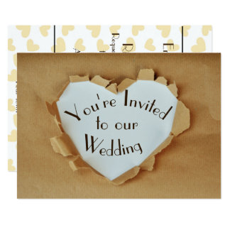 Fun  Ripped Brown Paper Bag Heart Wedding Card