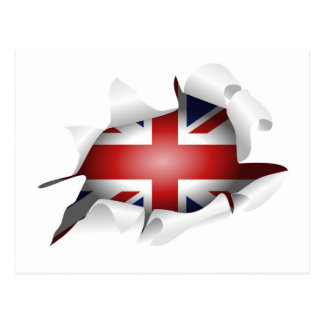 Fun Ripped Hole With Union jack Flag Post Card