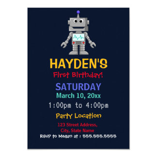 Fun Robot First Birthday Party Invite