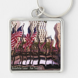 Fun Rockefeller Center Gifts Silver-Colored Square Key Ring
