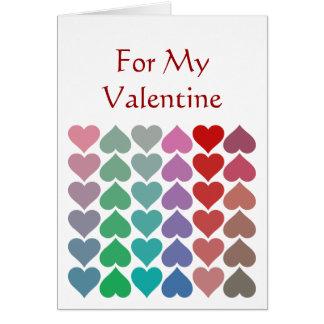 Fun Romantic Multicolored Hearts Valentine Art Card