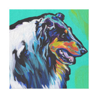 Fun Rough Collie bright colorful Pop Art Canvas Print