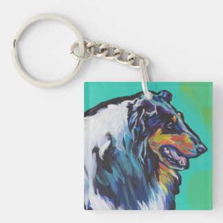 Fun Rough Collie bright colorful Pop Art Double-Sided Square Acrylic Key Ring
