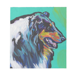 Fun Rough Collie bright colorful Pop Art Notepad