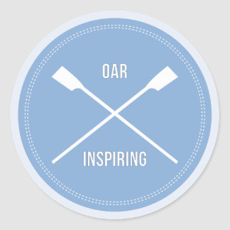 Fun rowing pun blue sports classic round sticker