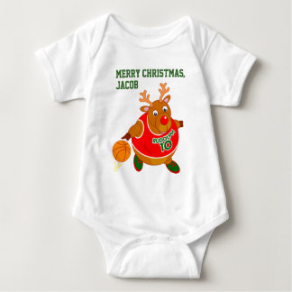 Fun Rudolph the Reindeer dribbling a basketball, Baby Bodysuit