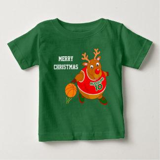 Fun Rudolph the Reindeer dribbling a basketball, Baby T-Shirt