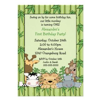 Fun Safari 1st Birthday Custom Announcement