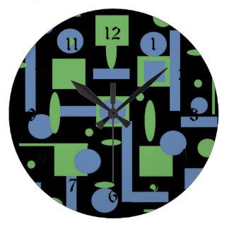 Fun Sage and Periwinkle Geometric Shapes Pattern Clocks