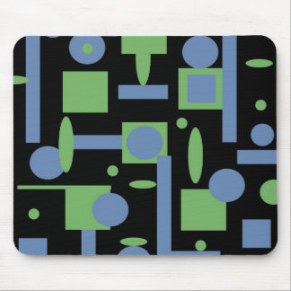 Fun Sage and Periwinkle Geometric Shapes Pattern Mouse Pad