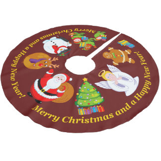 Fun Santa Claus and other Christmas characters, Brushed Polyester Tree Skirt