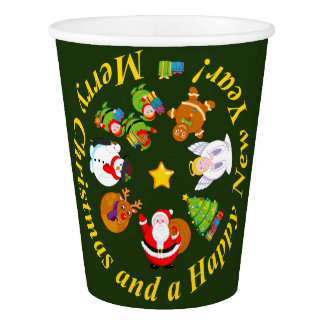 Fun Santa Claus and other Christmas characters, Paper Cup