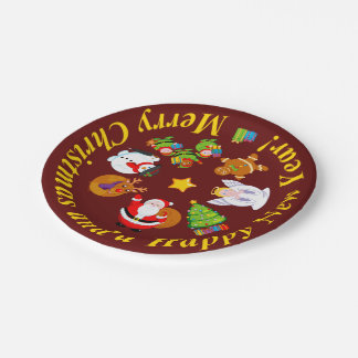 Fun Santa Claus and other Christmas characters, Paper Plate