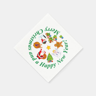 Fun Santa Claus and other Christmas characters, Paper Serviettes
