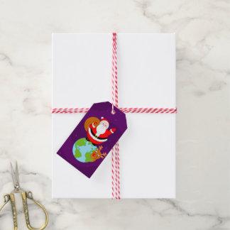 """Fun Santa Claus & Rudolph """"Peace on Earth"""" cartoon Gift Tags"""