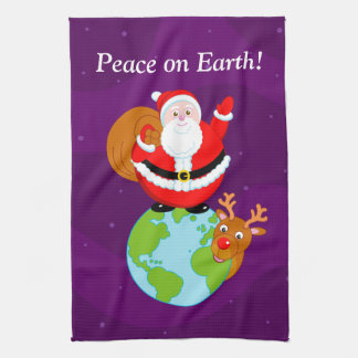 "Fun Santa Claus & Rudolph ""Peace on Earth"" cartoon Tea Towel"